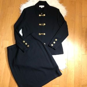 St. John Sz 12 Black military wool suit and skirt